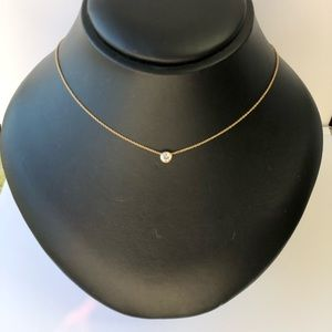 Jewelry - Bezeled CZ Single Stone Necklace, 14k Gold Chain